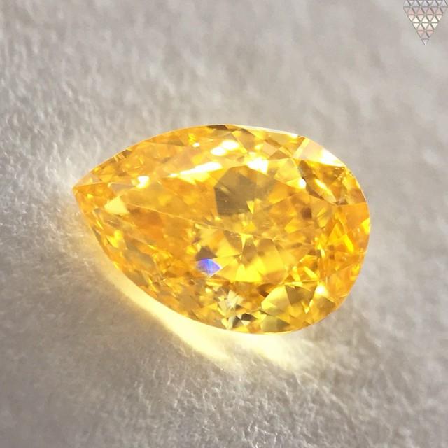 0.36 ct FANCY INTENSE ORANGE-YELLOW SI1 PEAR GIA 天然  ダイヤモンド ルース