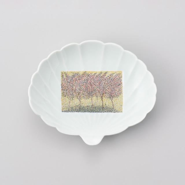 【中仙窯】篆刻 木の葉型皿