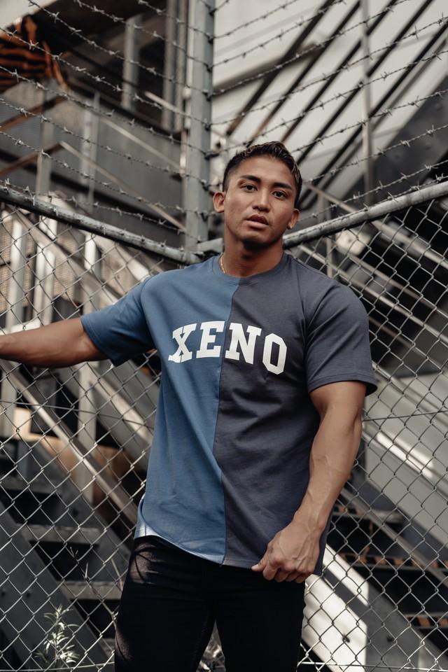 XENO SPLIT T-SHIRT BLUE x CHARCOAL