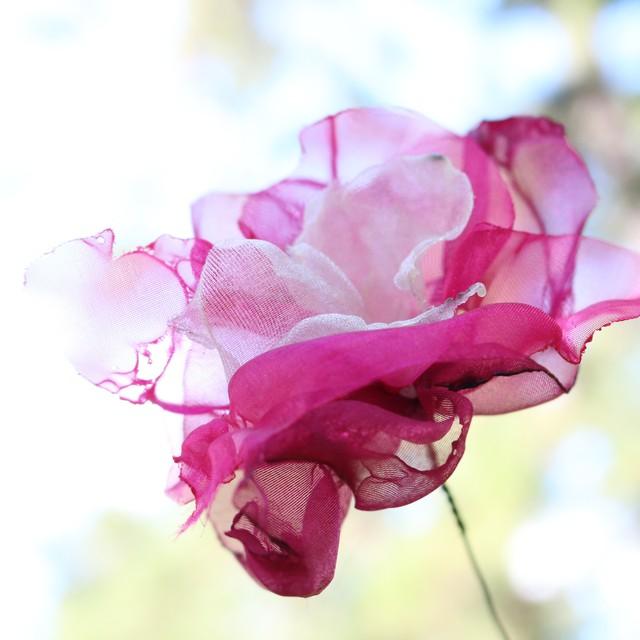 カラフルオーガンジーのアートフラワー【造花】 紫