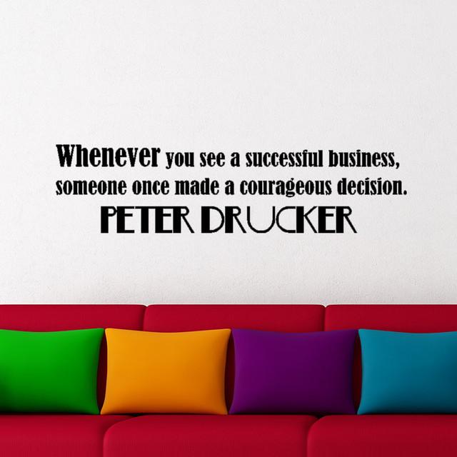 現代経営学 マネジメントの発明者 自己啓発本で有名なピーター・ドラッカー 英語のウォールステッカー