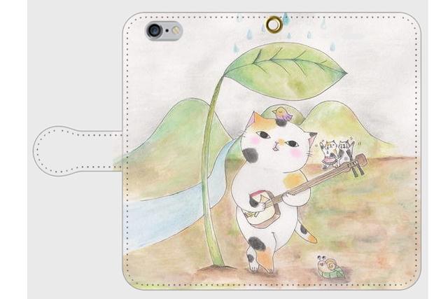 (iPhone用)三味線ネコの手帳型スマホケース