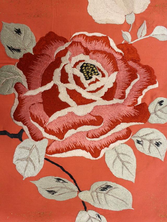 ピンク 薔薇刺繍名古屋帯