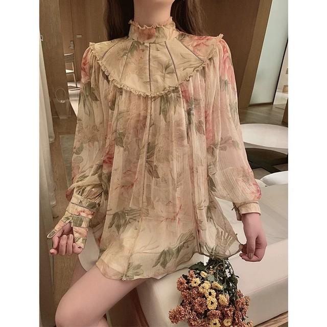 high neck flare flower blouse