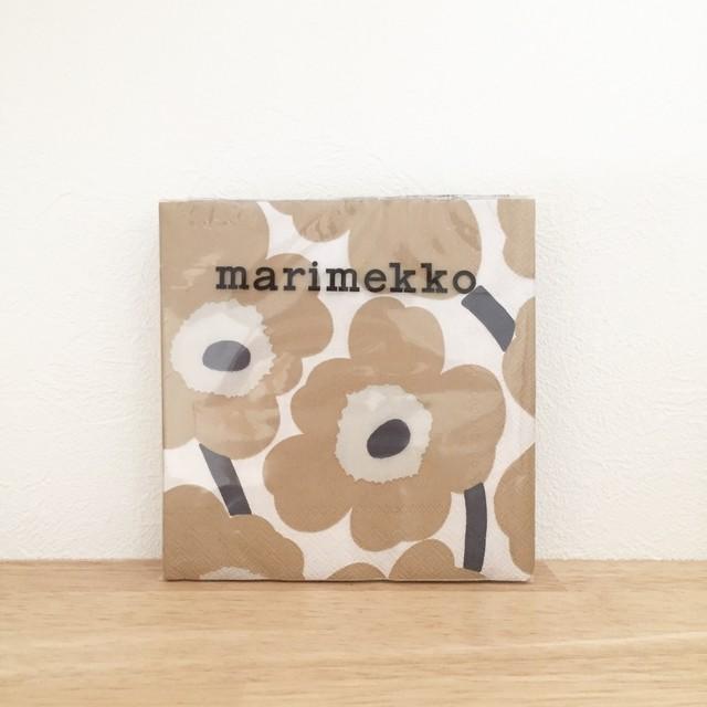 2020春夏新作【marimekko】カクテルサイズ ペーパーナプキン UNIKKO クリーム×ベージュ 20枚入り