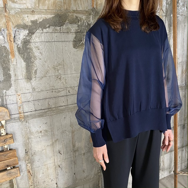 HYKE【ハイク】 CREW NECK SWEATER SHEER SLEEVE (11226/NAVY).