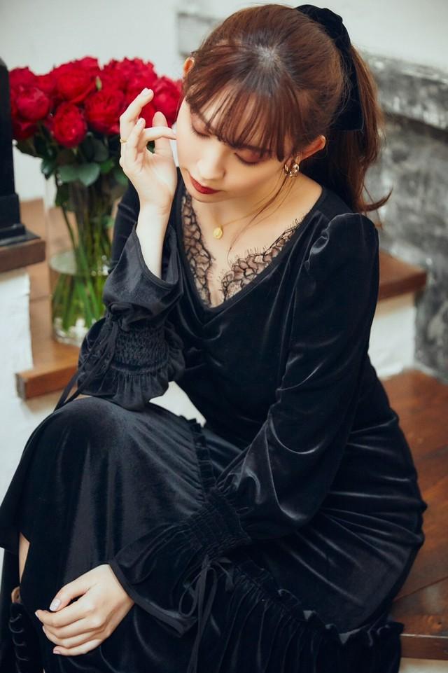 Lux Velour Lace Midi Dress