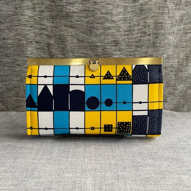 長財布(黄色と青の幾何学)