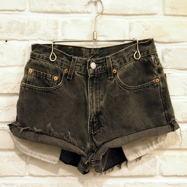 USED Levi's 550 BLACK CUT OFF W29  NO,0001
