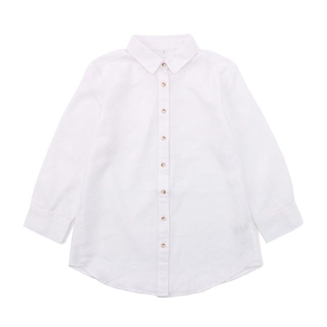 リネンブレンドシャツ (ホワイト) 3000030