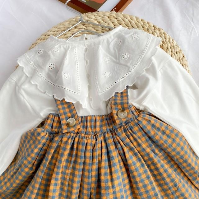 15%off即納品【在庫限り】 チェック柄吊りスカート