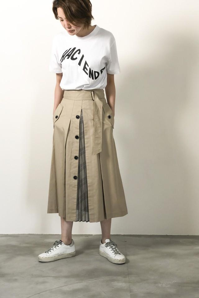 チェックプリーツトレンチスカート <BEIGE>