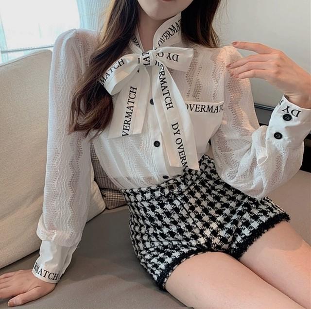 message ribbon blouse