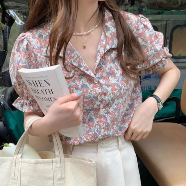 【トップス】フェミニンエレガントプリント半袖シャツ43228652