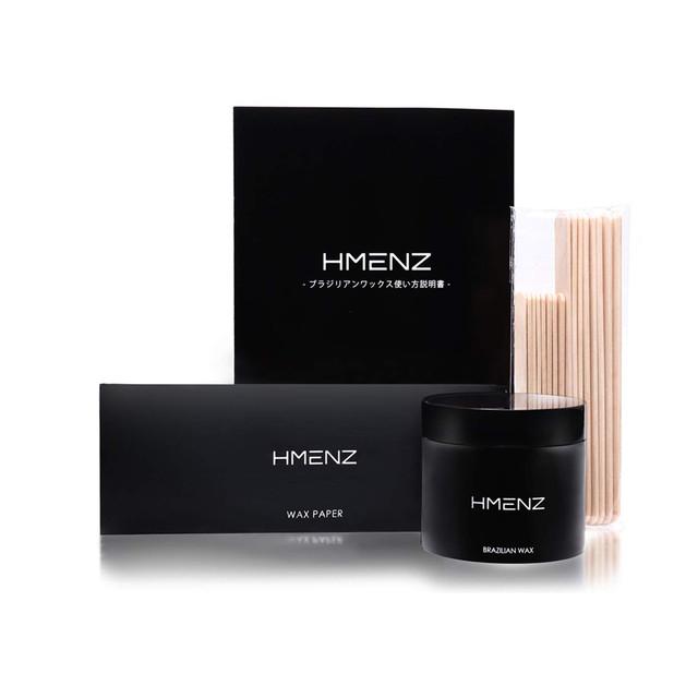 【 ムダ毛対策 パパイン酵素 配合 】HMENZ メンズ 脱毛ワックス ブラジリアンワックス 男性 「 デリケートゾーン vio/ボディ 用」(シート100枚 ヘラ10本)200g