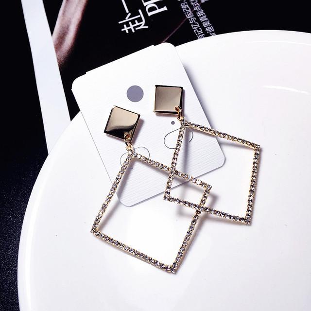 【小物】アクセサリー菱形幾何模様定番レディースイアリング