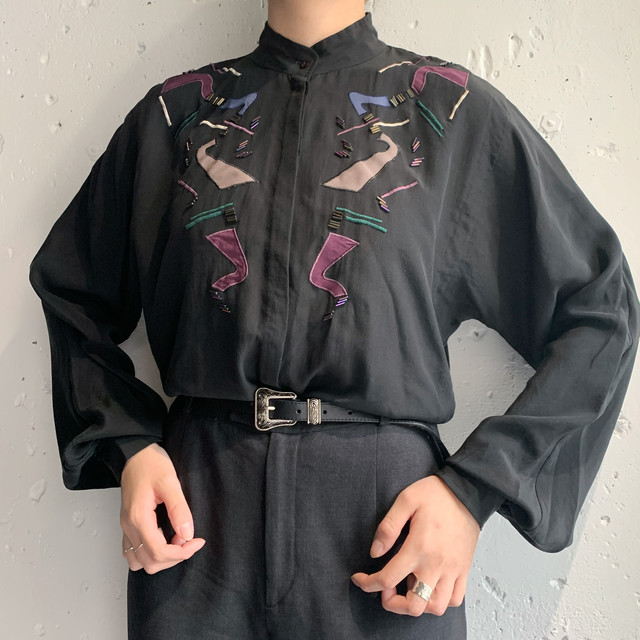 vintage stand collar blouse
