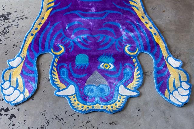 Tibetan Tiger Rug 《Lサイズ•シルク•オリジナル•パープルバージョン27》チベタンタイガーラグ