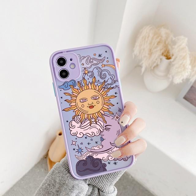 Funny sun moon iphone case