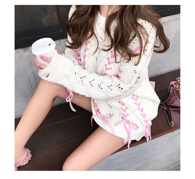 【即納】many ribbon girly knit