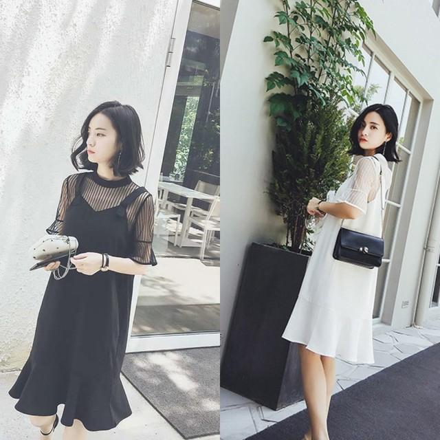 SALE <即納>ブラック/ホワイト ストライプ シースルー ワンピース 袖あり ひざ丈 お呼ばれ ドレス サンドレス