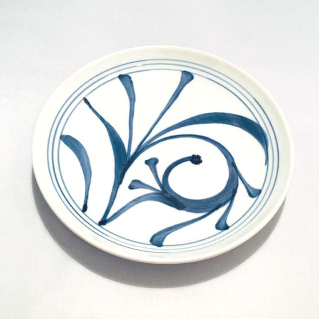 【砥部焼/梅山窯】8寸丸皿・切立(唐草)