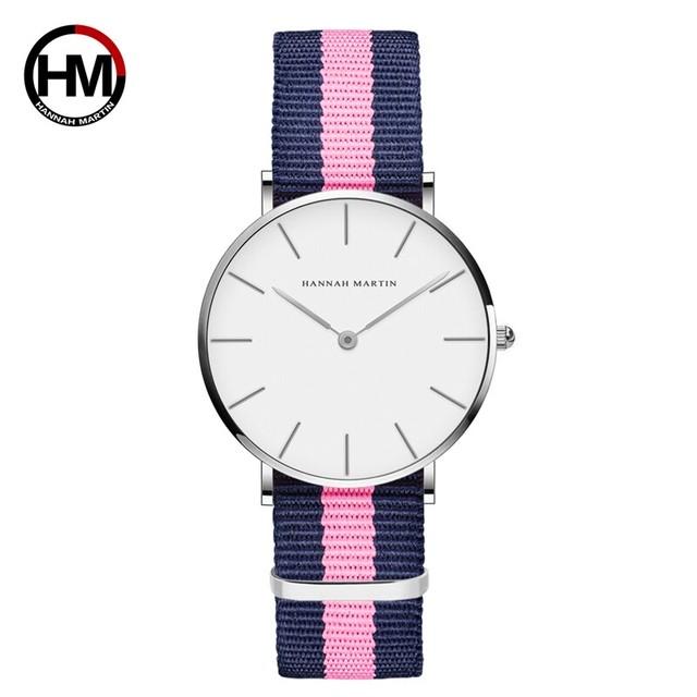 クラシックローズレッドダークブルーナイロンストラップジャパンクォーツムーブメントファッションカジュアル腕時計生地薄いキャンバス腕時計女性用CB36-Y7