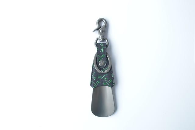 シューホーン(携帯型印傳靴ベラ) 黒/緑 トンボ柄