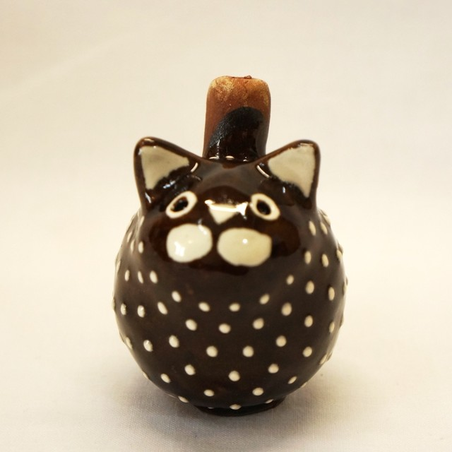 157 リトアニア製 陶器の笛/猫04