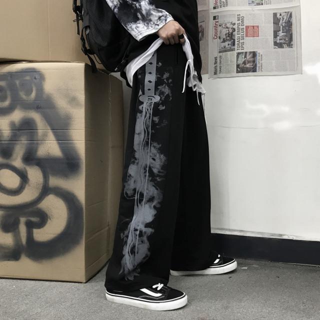 チャイナ風ズボン ガウチョパンツ ボトムス 原宿風 龍 チャイナ服 チャイナ風服 M L LL 棉 ブラック グレー