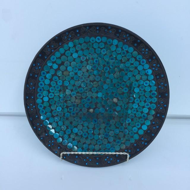 品番0985 飾り皿 ステンドグラス風 プレート スタンド付 ディスプレイ ヴィンテージ 011