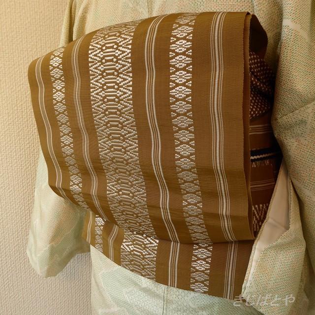 正絹 カーキ色の博多帯