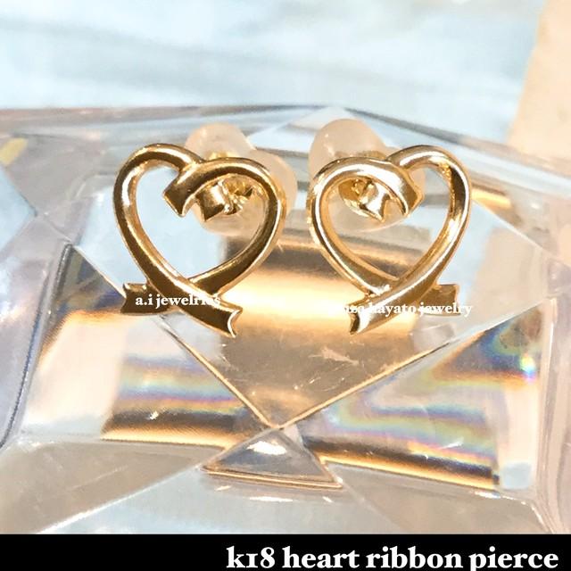 k18 18金 リボン ハート ピアス / ribbon  heart  pierce