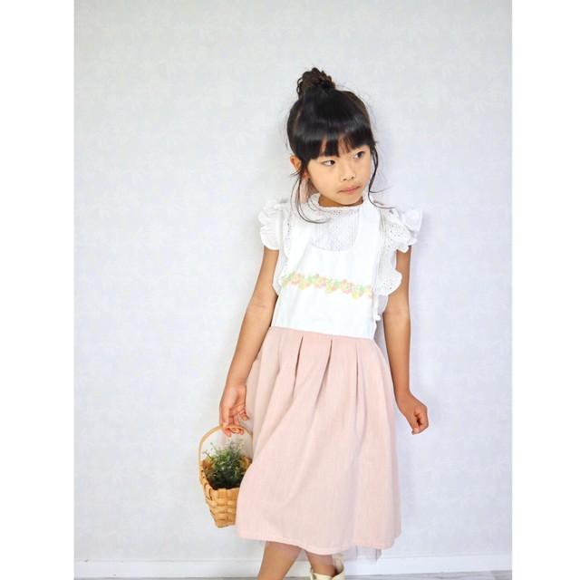 ワンピースみたい❤︎フェミニンな女の子 ドレスエプロン (入園入学/給食)100~120cm