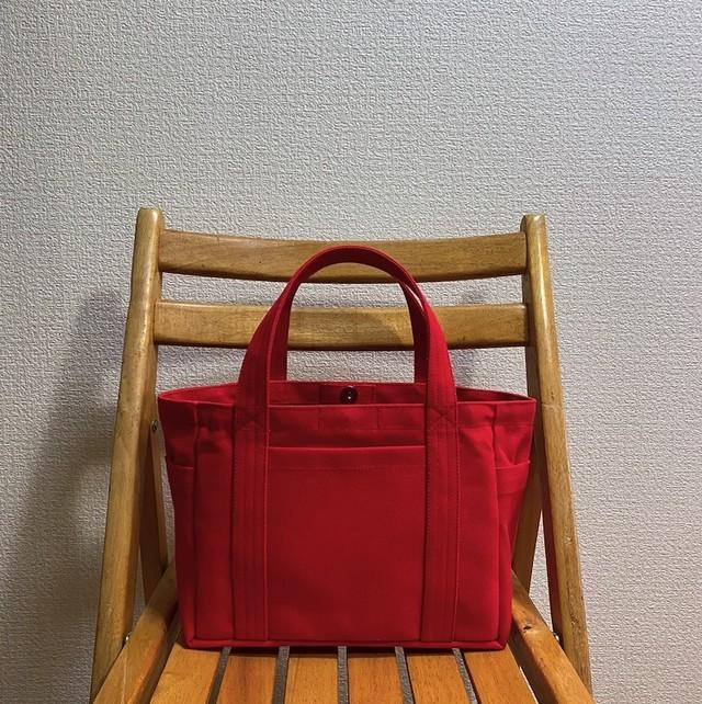 「ポケットトート」小サイズ「赤」帆布トートバッグ 倉敷帆布8号【受注制作】