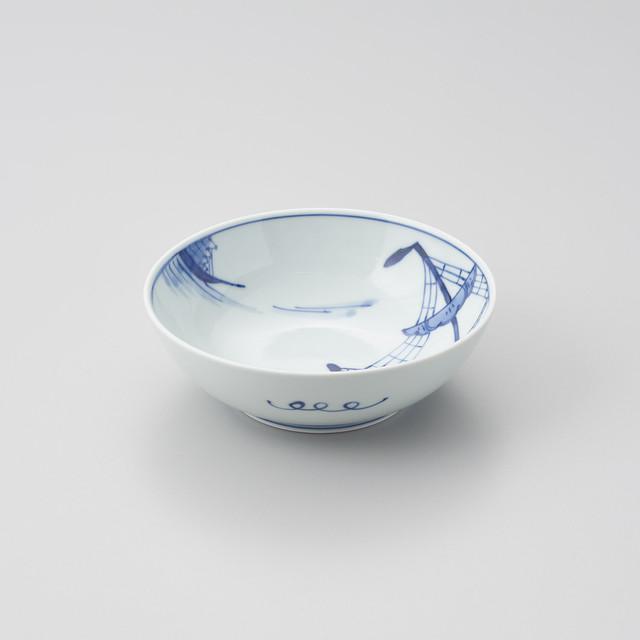 """【青花】""""船と異人"""" 5寸ボウル(出船帆船)"""