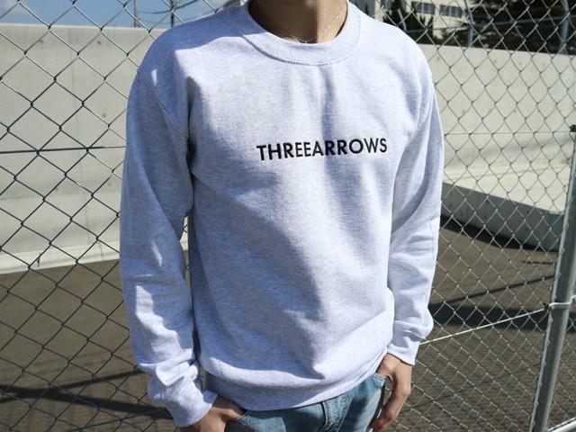 THREEARROWS刺繍スウェット(ice grey)