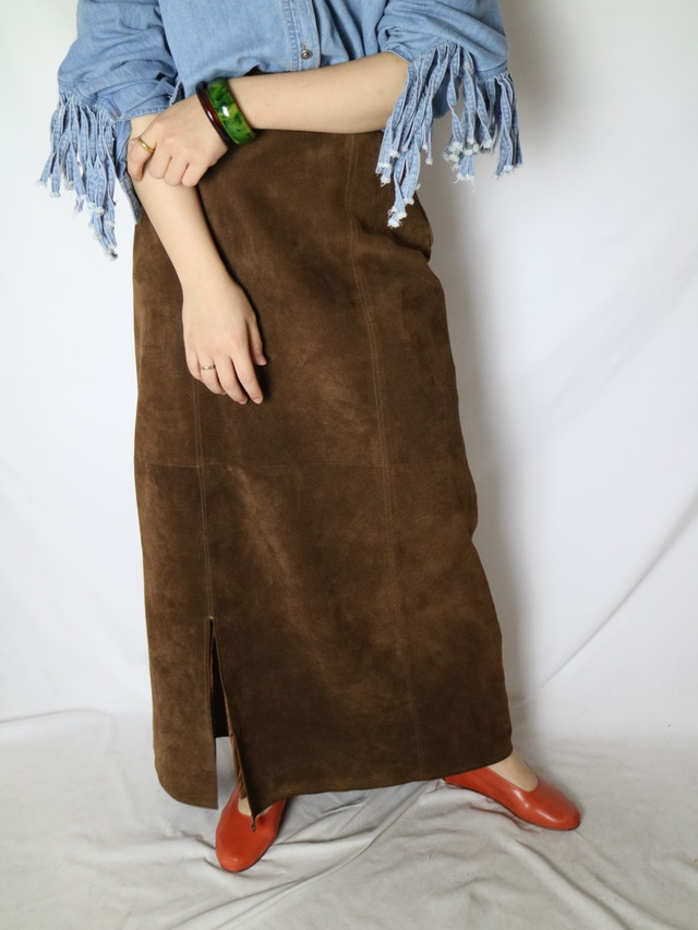 leather maxi skirt【0770】