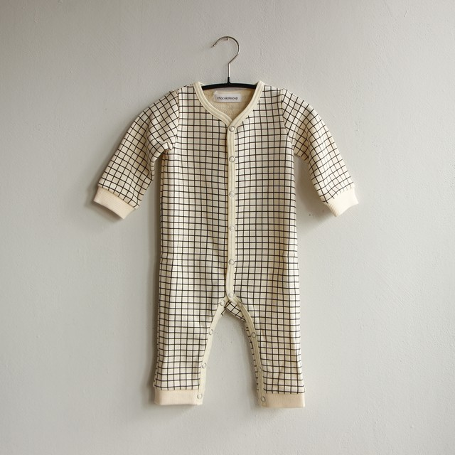 《chocolatesoup 2020AW》GEOMETRY SWEAT ROMPERS / grid