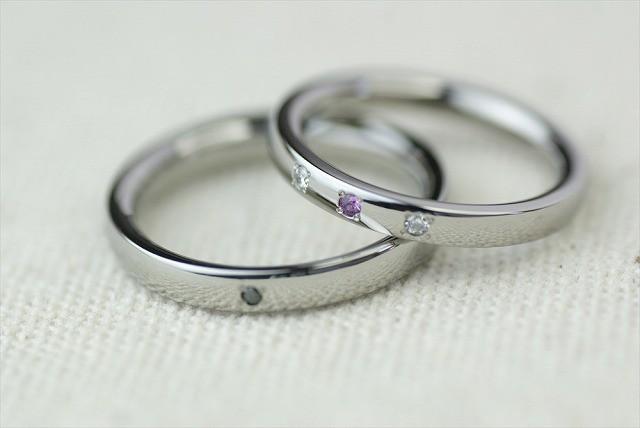 プラチナ結婚指輪 素心 3石 オリオン <No1-3>