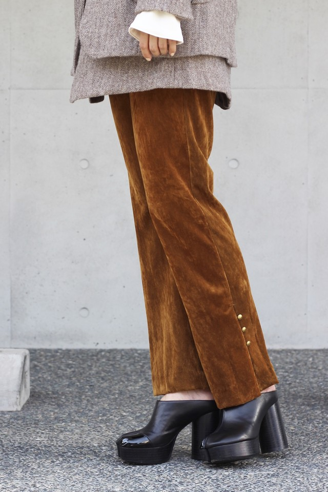 ※再入荷【eicayoshinari】tule velvet slit pants-brown