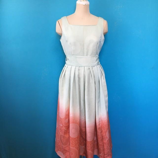 Vintage 着物のスクエアネック US 8