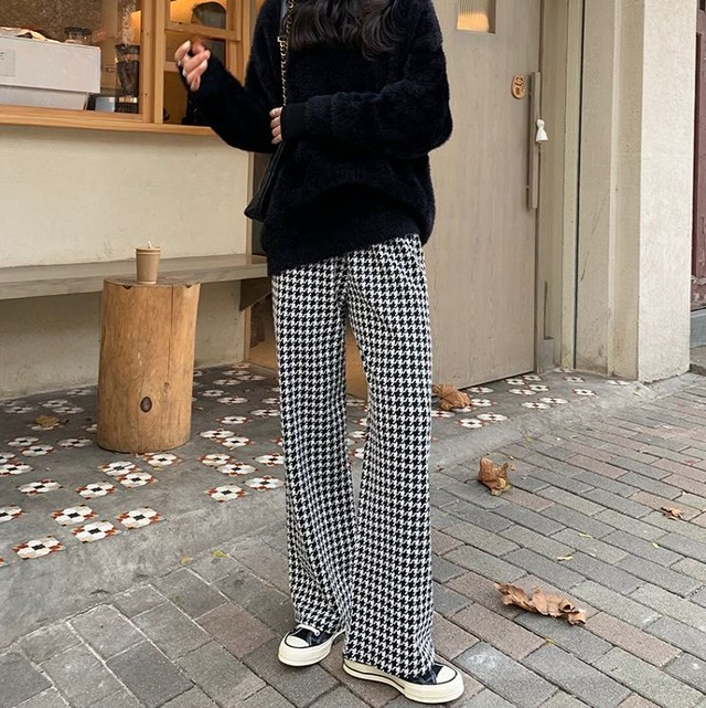 Plover pattern loose silhouette pants LD0442