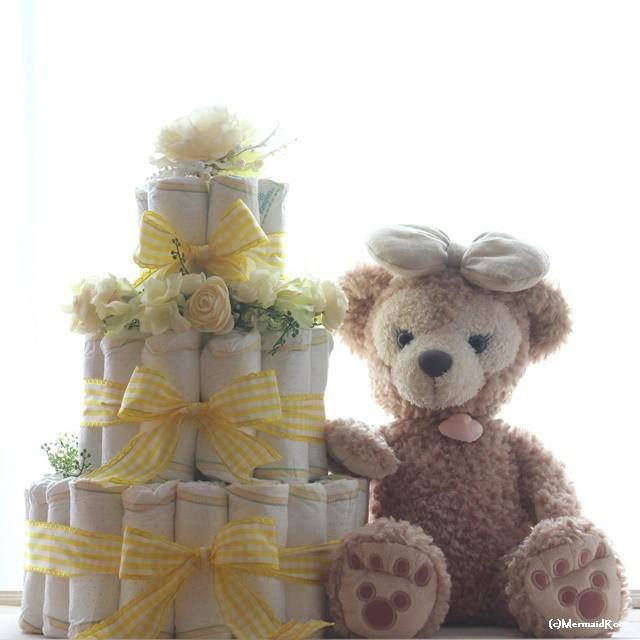 おむつケーキ3段イエロー系パンパースS【ダイパーケーキ】