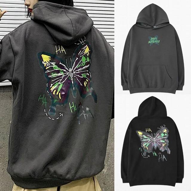 ユニセックス プルオーバー パーカー 裏起毛 韓国ファッション メンズ レディース バタフライ 蝶プリント オーバーサイズ ルーズ ストリート / Thick warm plus velvet loose hooded sweater (DTC-609074141670)