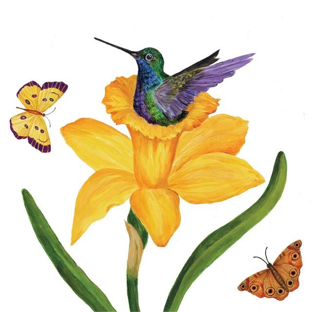 2021春夏【Paperproducts Design】バラ売り2枚 ランチサイズ ペーパーナプキン Daffodil Nest ホワイト