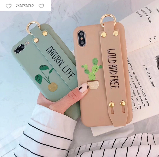 【オーダー商品】ベルト付き! Cute cactus letter iphone case