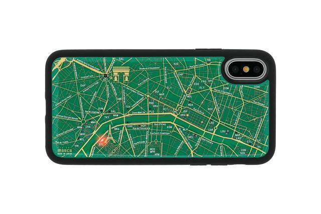 FLASH Paris回路地図 iPhoneX/XSケース 緑【東京回路線図A5クリアファイルをプレゼント】