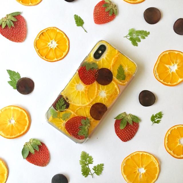 【手帳型】ぶどうと果物 押しフルーツiPhoneケース
