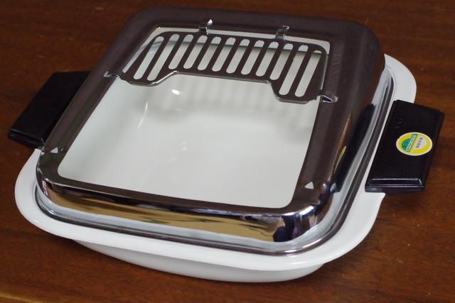 レトロモダン ワインレッド ストライプ ホーロー両手鍋 20.2cm 3.1L 琺瑯 ほうろう 三郷陶器 昭和レトロ 古道具